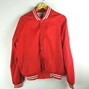 Vintage Red Coach Jacket Snap Up Sz XL